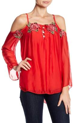 Luma Cold Shoulder Rose Applique Blouse