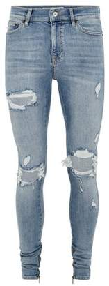 Topman Mens Blue Light Wash Ripped Stacker Jeans