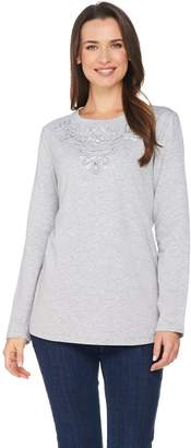 Susan Graver Artisan French Terry Long Sleeve Embellished Top