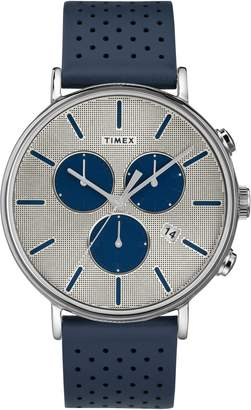 Timex R) Fairfield Chronograph Perforated Leather Strap Watch, 41mm