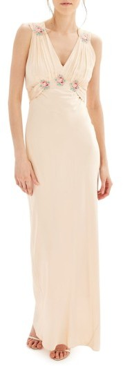 Topshop Women's Topshop Bride Embroidered Silk Gown