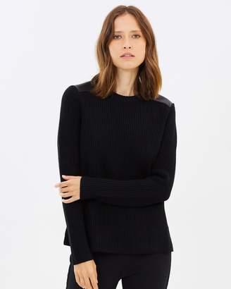 Polo Ralph Lauren Leather Trim Crew-Neck Sweater