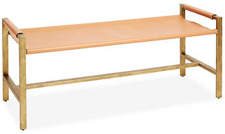 One Kings Lane Wright Sling Bench - Bronze/Natural Leather