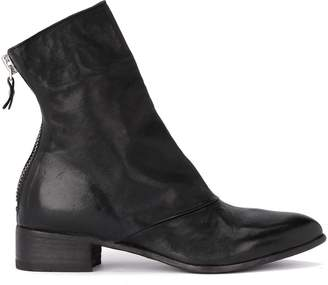 Moma Fox Lack Leather Ankle Boots With Zip