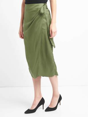Gap TENCEL wrap-belt midi skirt