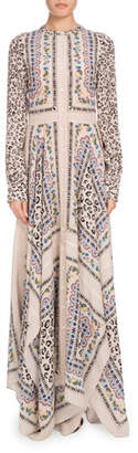 Altuzarra Long-Sleeve Button-Front Printed Crepe de Chine Maxi Dress w/ Scarf Hem