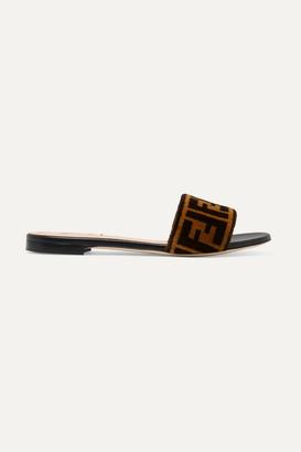 Fendi Logo-print Velvet Slides - Brown