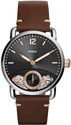 Fossil Men's Commuter Twist Brown Leather Strap Watch 42mm