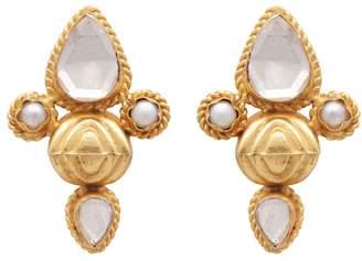 Carousel Jewels - Crystal Quartz and Pearl Studs