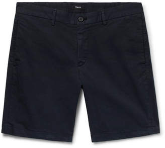 Theory Zaine Slim-Fit Garment-Washed Stretch-Cotton Twill Shorts