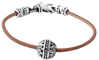 King Baby Studio Men's 925 Sterling Silver Flower Bead Brown Leather Cord Bracelet of Length 22.23 cm