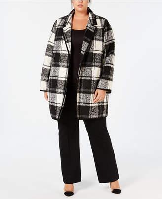 Calvin Klein Plus Size Open-Front Plaid Jacket