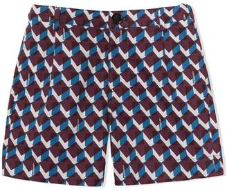 Burberry Geometric Print Cotton Tailored Shorts