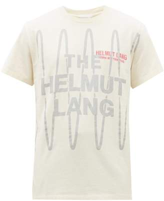 Helmut Lang Logo Embroidered Cotton T Shirt - Mens - White