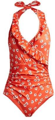 Ganni Columbine Floral Print Swimsuit - Womens - Red Multi