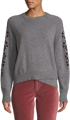 360 Sweater 360sweater Serpent-Intarsia Sleeve Crewneck Cashmere Sweater