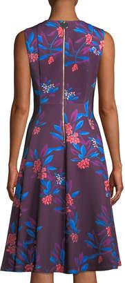 Iconic American Designer Hibiscus-Print Sleeveless Fit-&-Flare Dress