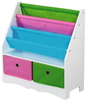 Home Basics MDF Kids Book Holder with 2 Canvas Bins, White/Multi-Color