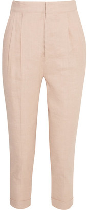 Isabel Marant - Neyo Linen-blend Tapered Pants - Pastel pink $445 thestylecure.com