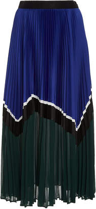 Self-Portrait Self Portrait Colorblock Pleated Chiffon Midi Skirt