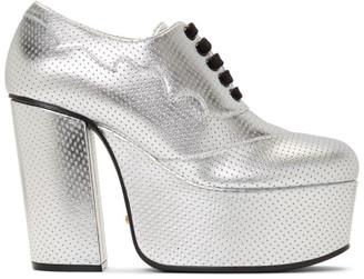 Gucci Silver Otis Lace-Up Platform Heels