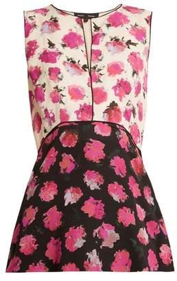Proenza Schouler Floral Print Silk Crepe Top - Womens - Black Pink