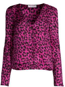 Milly Leopard Print Silk Jacquard Blouse