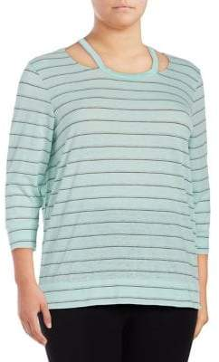 Andrew Marc Performance Plus Stripe Quarter-Sleeve Top