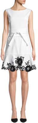 Josie Natori Boat-Neck Sleeveless Stretch Denim Dress w/ Floral Embroidery