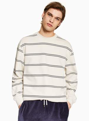 TopmanTopman Off White and Black Stripe Sweatshirt