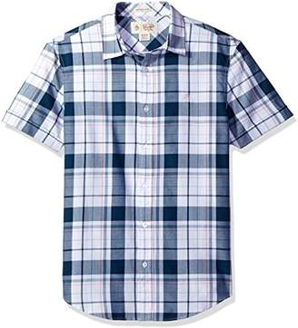 Original Penguin Men's Short Sleeve Cuffed Plaid with Jaspe Stripe