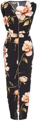 Quiz Black And Pink Floral Print Maxi Dress