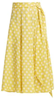 Lisa Marie Fernandez Polka Dot Print Tie Waist Linen Skirt - Womens - Yellow Multi