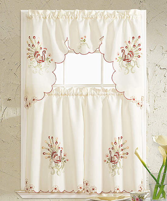 Burgundy Peacock Embroidered Kitchen Curtain Set