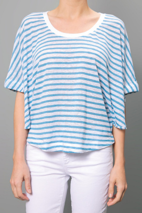 Minden Chan Striped Top Blue