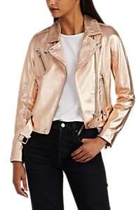Women's Brooklyn Metallic Biker Jacket - Gold Size 34 Fr