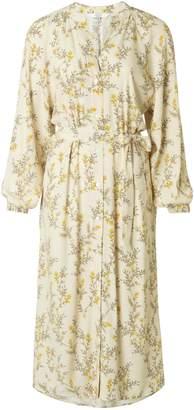 Ya-Ya Long Flowing Blouse Dress with Flower Print and Tie Belt - Bone White & Primrose Yellow - 36 - Natural/White/Yellow