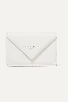 Balenciaga Papier Mini Printed Textured-leather Wallet - White