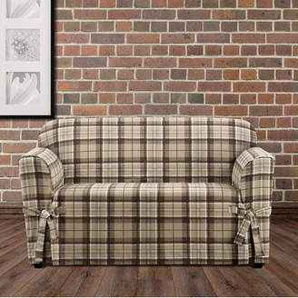 Sure Fit Highland Plaid Box Cushion Loveseat Slipcover
