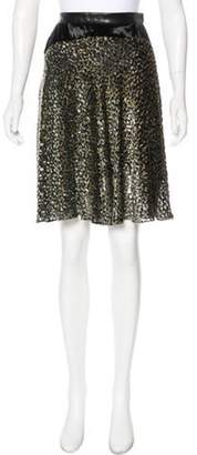 Sophie Theallet Metallic-Accented Knee-Length Skirt Blue Metallic-Accented Knee-Length Skirt