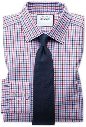 Charles Tyrwhitt Classic Fit Poplin Multi Red Check Cotton Dress Shirt French Cuff Size 16.5/36