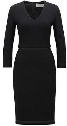 HUGO BOSS V-neck shift dress in structured jersey with ribbon detailing