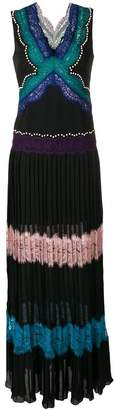Emilio Pucci v-neck long lace stripe layer dress