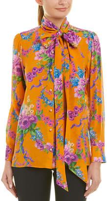 Gucci Tie-Collar Silk Shirt