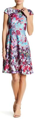 Adrianna Papell Printed Cap Sleeve Scuba Dress $130 thestylecure.com