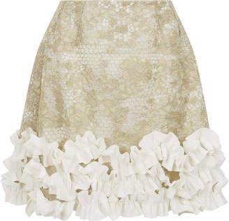 Razan Alazzouni Ruffled Lace Mini Skirt
