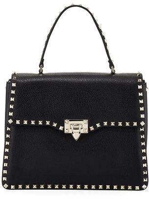 Valentino Rockstud Medium Leather Top-Handle Satchel Bag