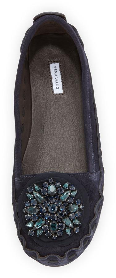 Vera Wang Indigo Crystal-Toe Moccasin, Blue