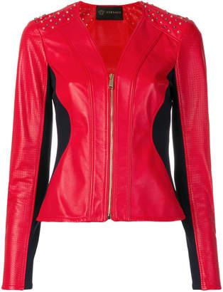Versace collar-less motorcycle jacket