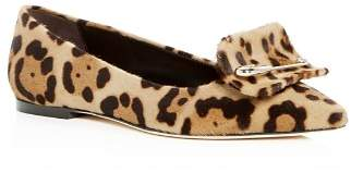 Brian Atwood Women's Amaia Leopard Print Calf Hair Pointed-Toe Flats